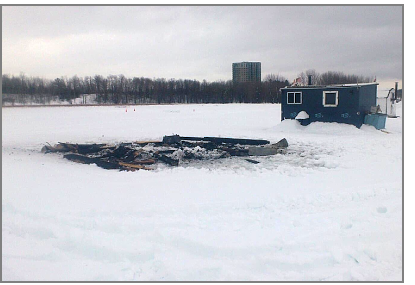 Burned ice shack